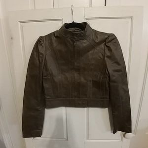 Arden B Cropped Leather moto Jacket Olive Green XS